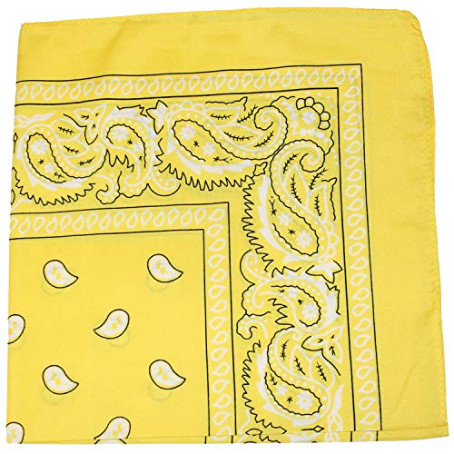 Pack of 6 Paisley 100% Cotton Bandanas Novelty Headwraps - 22 inches (Yellow)