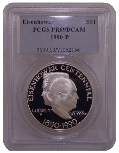 1990 P Eisenhower Commemorative Silver Dollar PCGS PR-69