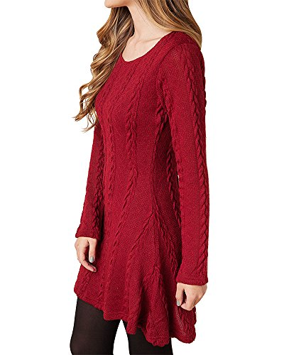 HAPEE Women's Crewneck Knitted Long Sleeve Sweater Dress , Red , Small