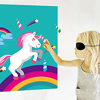 amazon com pin the horn on the unicorn birthday party favor games