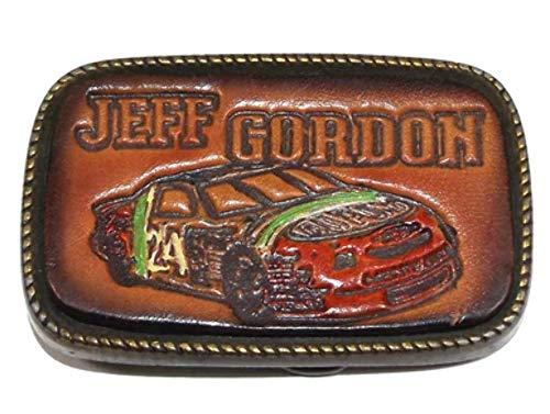 (Vintage Jeff Gordon NASCAR Race Car Belt Buckle w/Stamped Leather Front)