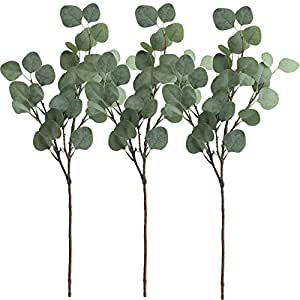 """Supla 3 Pcs Artificial Silver Dollar Eucalyptus Leaf Spray in Green 25.5"""" Tall Artificial Greenery Holiday Greens Christmas greenery"""