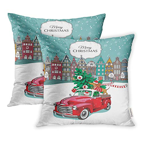 Emvency Set of 2 Throw Pillow Covers Decorative Cases Christmas Red Retro Truck Fir Tree and The Dachshund in Scarf European City 16x16 Inch Cover Cushion Pillowcase Square Case Print -