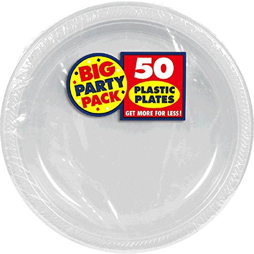Amscan Friendly Classic Round Dinner Silver Plastic 10'' Pack 50 Party Supplies , 300 Pieces by Amscan