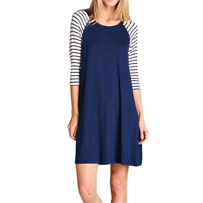POLP Vestidos Corto Mujer ◉ω◉ Vestido Largo A Rayas de Mujer Azul Vestido Tallas