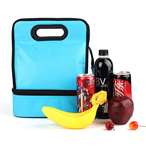 Expandable Lunch Bag Double Layer Cooler Tote Bag for Adult Women and Men - Idea for Beach, Picnics, Road Trip, Meal Prep, Everyday Lunch to Work or School, Ice Blue by yodo (Image #8)