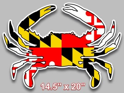 Maryland flag blue crab decal large 14 5 x 20 vinyl sticker for truck car