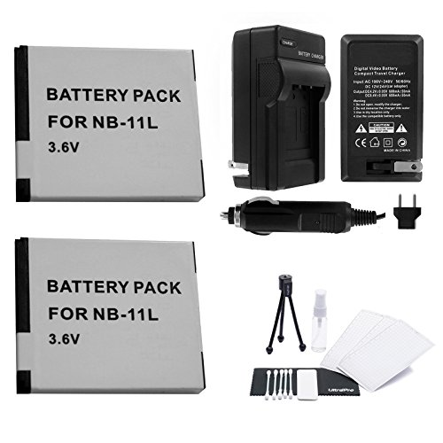 NB-11L / NB-11LH Battery 2-Pack Bundle with Rapid Travel Charger and UltraPro Accessory Kit for Select Canon Cameras Including PowerShot A2300 IS, A2400 IS, A3400 IS, A4000 IS, ELPH 110HS, ELPH 320HS