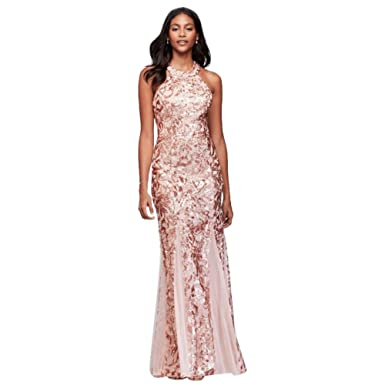 Davids Bridal Glitter Lace and Jersey High-Neck A-Line Prom Dress Style 12445