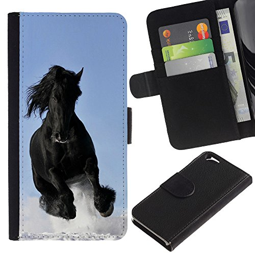 EuroCase - Apple Iphone 6 4.7 - Majestic Mustang Horse - Cuir PU Coverture Shell Armure Coque Coq Cas Etui Housse Case Cover