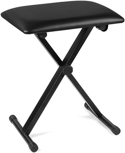 US Stock Fashine X-style Adjustable Keyboard Bench Leather Padded Seat Foldable Black Piano Stool