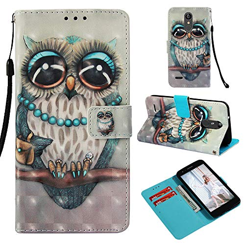 LG Aristo 2 Plus/Aristo 2/Zone 4/Tribute Dynasty/Fortune 2/Risio 3/Rebel 3 LTE Case,Printed Design Wallet PU Leather Case Cover with Card Holder Slot Magnetic for LG K8 2018,Cute Owl
