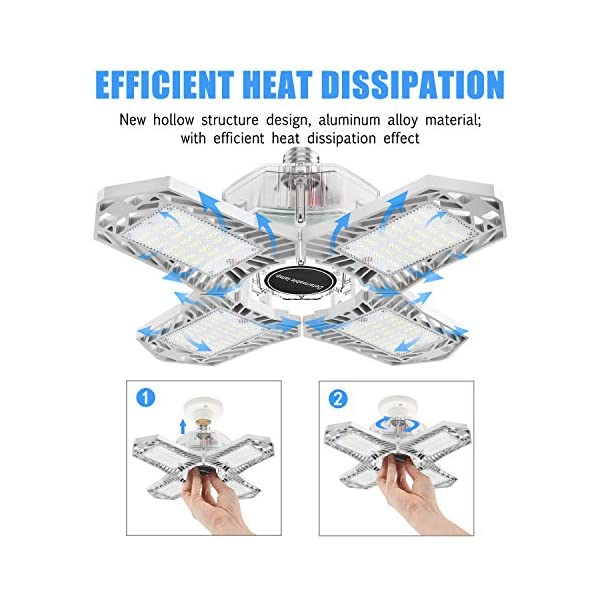 LED Garage Lights, New Upgrade 150W Deformable Four Leaf Ceiling Light, 15000LM Ultra-Bright Trilight Lighting with 4… 5