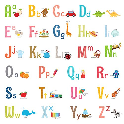 Decowall DW-1701S Uppercase Alphabet ABC with Pictures Kids Wall Decals Wall Stickers Peel and Stick Removable Wall Stickers for Kids Nursery Bedroom Living Room (Medium)