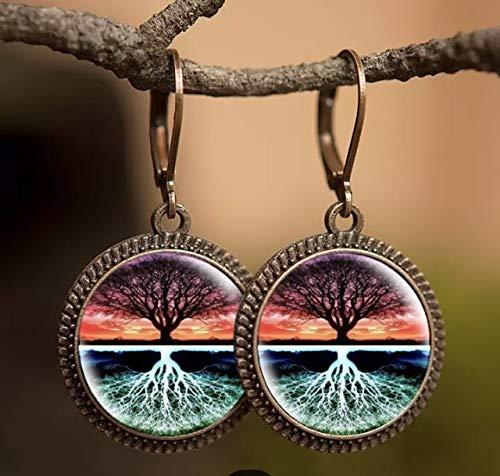 Handmade Ohrringe Baum des Lebens bronze Damen Ohrh/änger Glas-Cabochon vintage Brisuren Klapp-Ohrringe Lebensbaum Baum