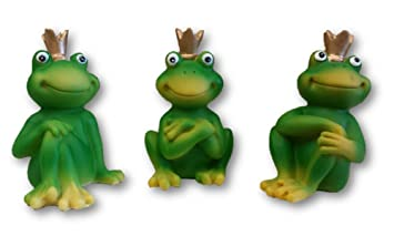 Crowned Frog Garden Ornaments   Set Of 3