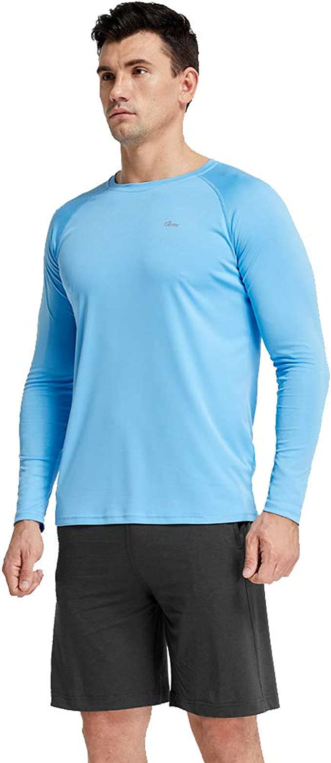 BALEAF Mens UPF 50 Running Outdoor Sun Protection Long Sleeve Performance Athletic Workout Shirt