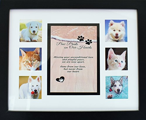 "Pet Memorial Collage Frame - 11x14"" Picture Frame w/ Sympathy Poem For Dog or Cat - Loss of Pet Gift - Includes Mat w/ Poem & six - 3 x 2.75"" Openings for Photos. No Hardware to Install - Easy to Hang"