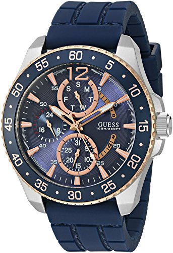 GUESS Men's U0798G2 Sporty Silver-Tone & Rose Gold-Tone Stainless Steel Watch with Multi-function Dial and Blue Strap (Gold Tone Blue Dial)