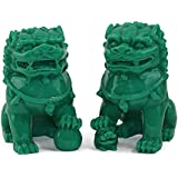 "Feng Shui Pair of 3"" Green Fu Foo Dogs Guardian Lion Wealth Protection Statue Figurine Paperweights Housewarming Congratulatory Gift US Seller"