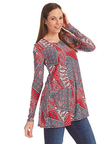 (WT1299 Womens Printed V Neck Long Sleeve Tunic Top XL RED_NAVY)