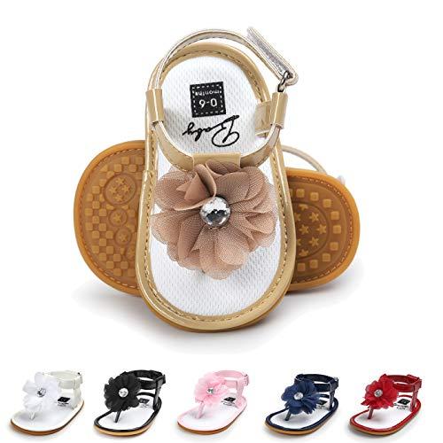 (Sakuracan Infant Baby Girls Sandals Cute Summer Shoes Soft Sole Flat First Walker Shoes (9-15 Months US Infant, G-Khaki))