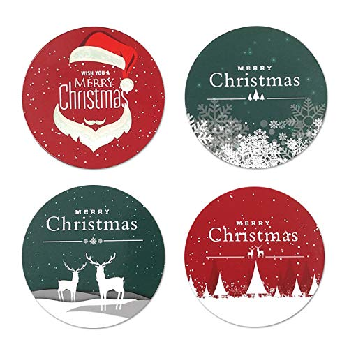 Merry Christmas Coaster - Merry Christmas Coasters, Coaster For Drinks With Vibrant Colors And Cork Backing, Prevent Furniture from Dirty and Scratched, Set of 4
