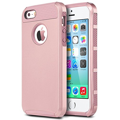 iPhone 5C Case , 5C Case ,Alkax 2 piece Armor Heavy Duty Slim Fit Series Shock-Absorption Protective Soft Rubber inner Skin Bumper & Hard Shell PC Cover for Apple iPhone 5C +1 Stylus Pen (Rose gold)