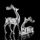 Elitek 2Pcs Christmas Figurines Sets Crystal Sika Deers Holiday Gift