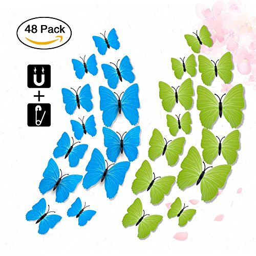 3D Lifelike Butterfly Wall Stickers, Rquite 48PCS Artificial waterproof Butterfly Decor Refrigerator Magnet Curtain Pin Wall Stickers Decals for Nursery Bathroom Kids Bedroom-Plain (Mailbox Plain Door)