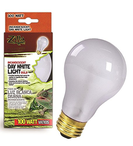 Zilla Reptile Terrarium Heat Lamps Incandescent Bulb, Day White, 100W