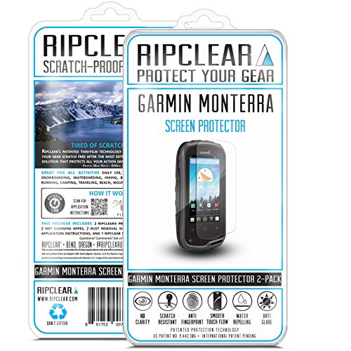 Ripclear Screen Protector Kit for Garmin Monterra GPS Unbreakable - Military Grade Scratch-Resistant, Smooth Touch, Anti-Glare - 2-Pack (Monterra The)