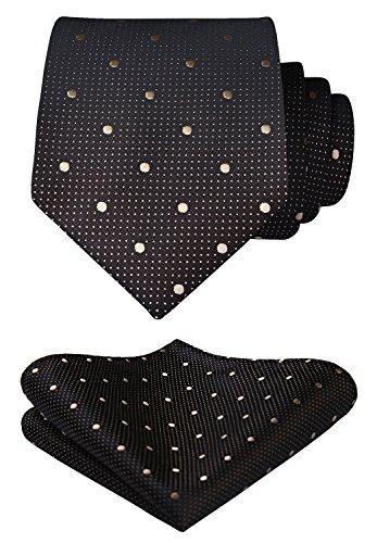 BIYINI Men's Polka Dot Tie Handkerchief Jacquard Woven Classic Men's Necktie & Pocket Square Set Black / Beige