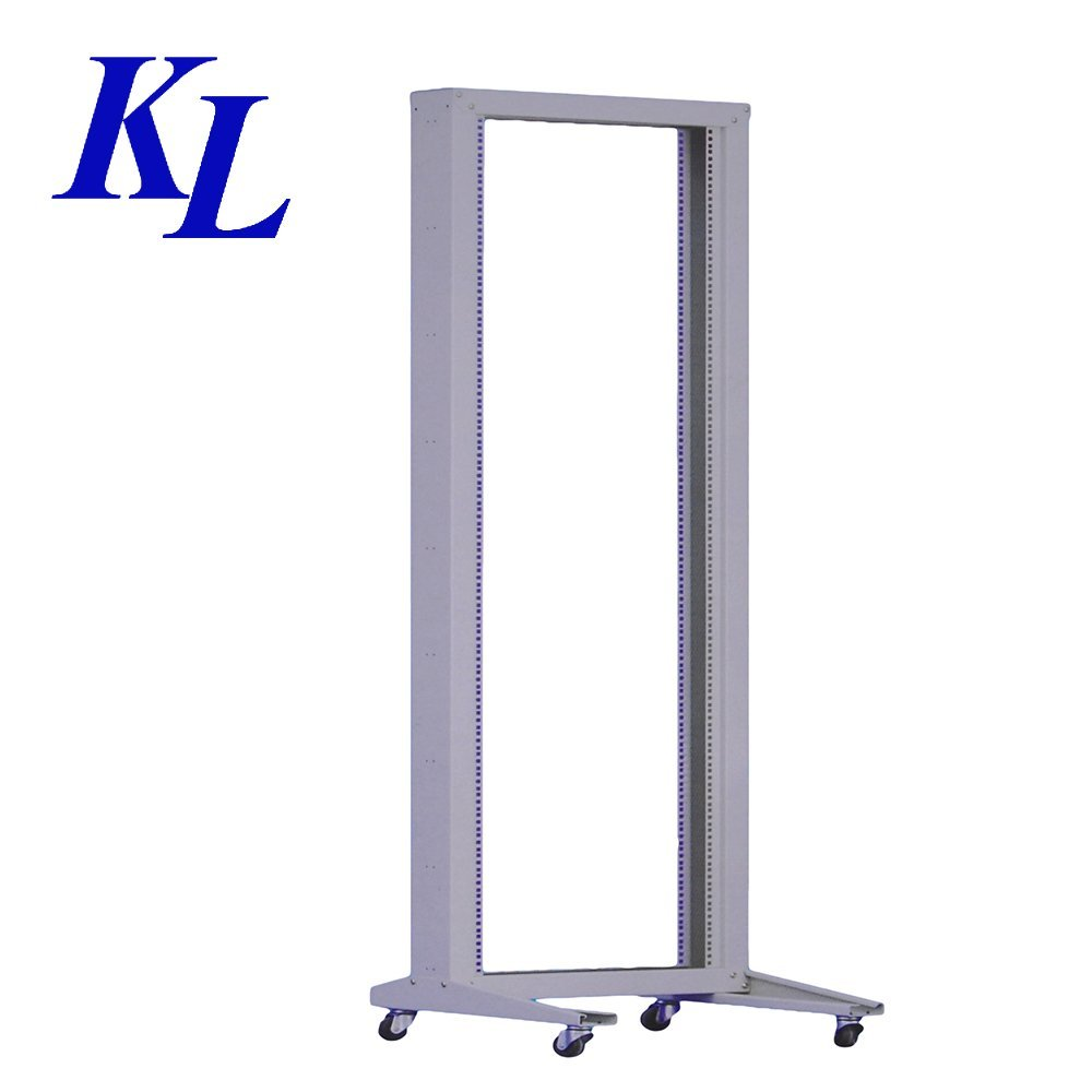 Open Frame 19'' 18U 600x600 2-Post Network Server Relay Rack Rolling with Casters by KLRack