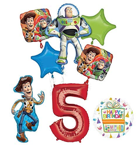 - Mayflower Products Toy Story Party Supplies Woody, Buzz Lightyear and Friends 5th Birthday Balloon Bouquet Decorations