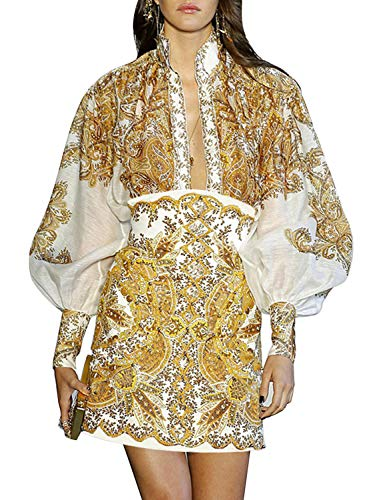 D Jill Women's Elegant Paisley Print Blouse Long Lantern Sleeve Button Down High Neck Chiffon Floral Shirt Tops (Yellow 1, Large)