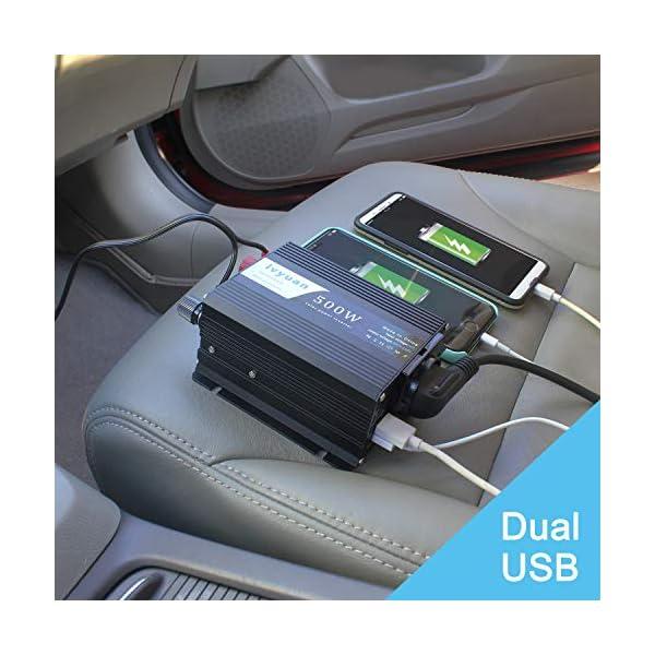 51%2BT z9vRiL LVYUAN 500W Wechselrichter DC 12 V auf 230V AC Spannungswandler Auto Konverter 12 V mit Dual USB Ports & EU-Steckdosen…