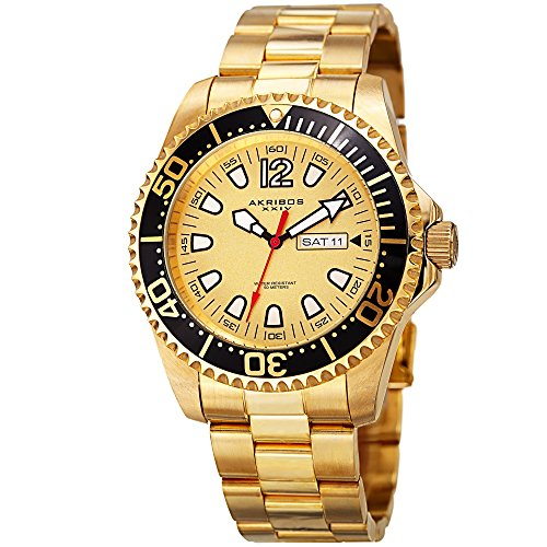 Akribos XXIV Men's Diver Watch - Two Tone Yellow Gold Stainless Steel Link Watch with Black Bezel - (Chain Gold Wrist Watch)