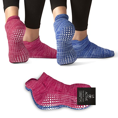 LA Active Grip Socks - 2 Pairs - Yoga Pilates Barre Ballet Non Slip Covered (Slublime Blue and Knit Ruby) M