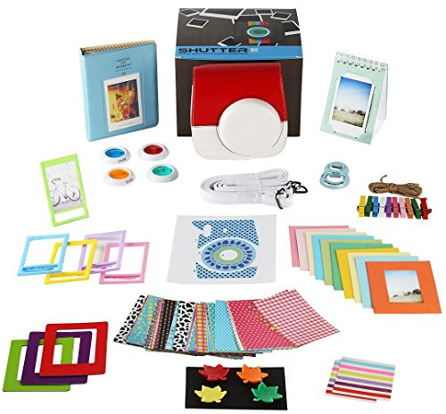 Fujifilm Instax Mini 9 or Mini 8/ 8+ Instant Camera Accessories, 14 PC Kit Includes Pokémon Case, Fujifilm Albums, Filters, Selfie lens, Magnet Frames, Hanging + Creative Frames, stickers + Gift Box Photo - Pokemon Gaming