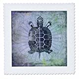 3dRose Andrea Haase Animals Illustration - Vintage Sea Turtle Mixed Media Art - 22x22 inch quilt square (qs_268166_9)
