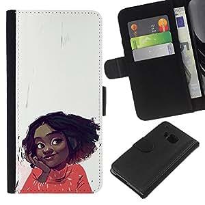 Be-Star la tarjeta de Crédito Slots PU Funda de cuero Monedero caso cubierta de piel Para HTC One M9 ( Cheerful Happy Girl Positive Portrait Art Face )