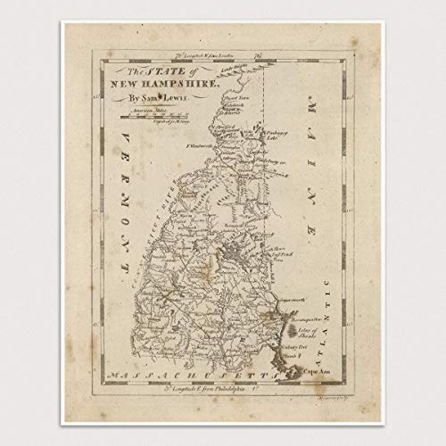 (Old New Hampshire Map Art Print, 1816, Archival Reproduction, Unframed)