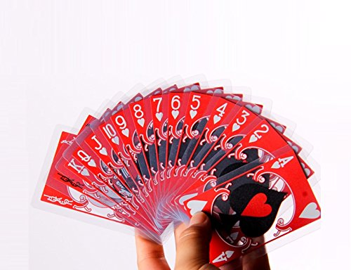 Hoocozi Reusable Waterproof Transparent Plastic Playing Cards Poker with Red and Black Chinese Opera Mask Characters from, 1Pack - Chinese Opera Mask