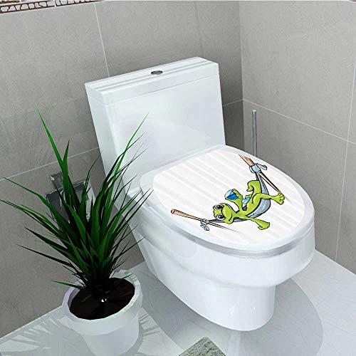 Bathroom Toilet seat Sticker Decal emian Frog Prince Hammock Wine Little Mascot Relax Peace in Garden Home Decal Sticker Vinyl W13 x L13 -