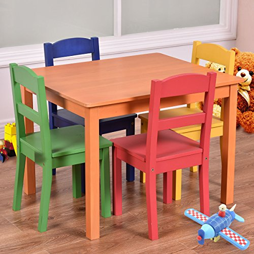 Costzon Kids 5 Piece Table and Chair Set Made of Pine