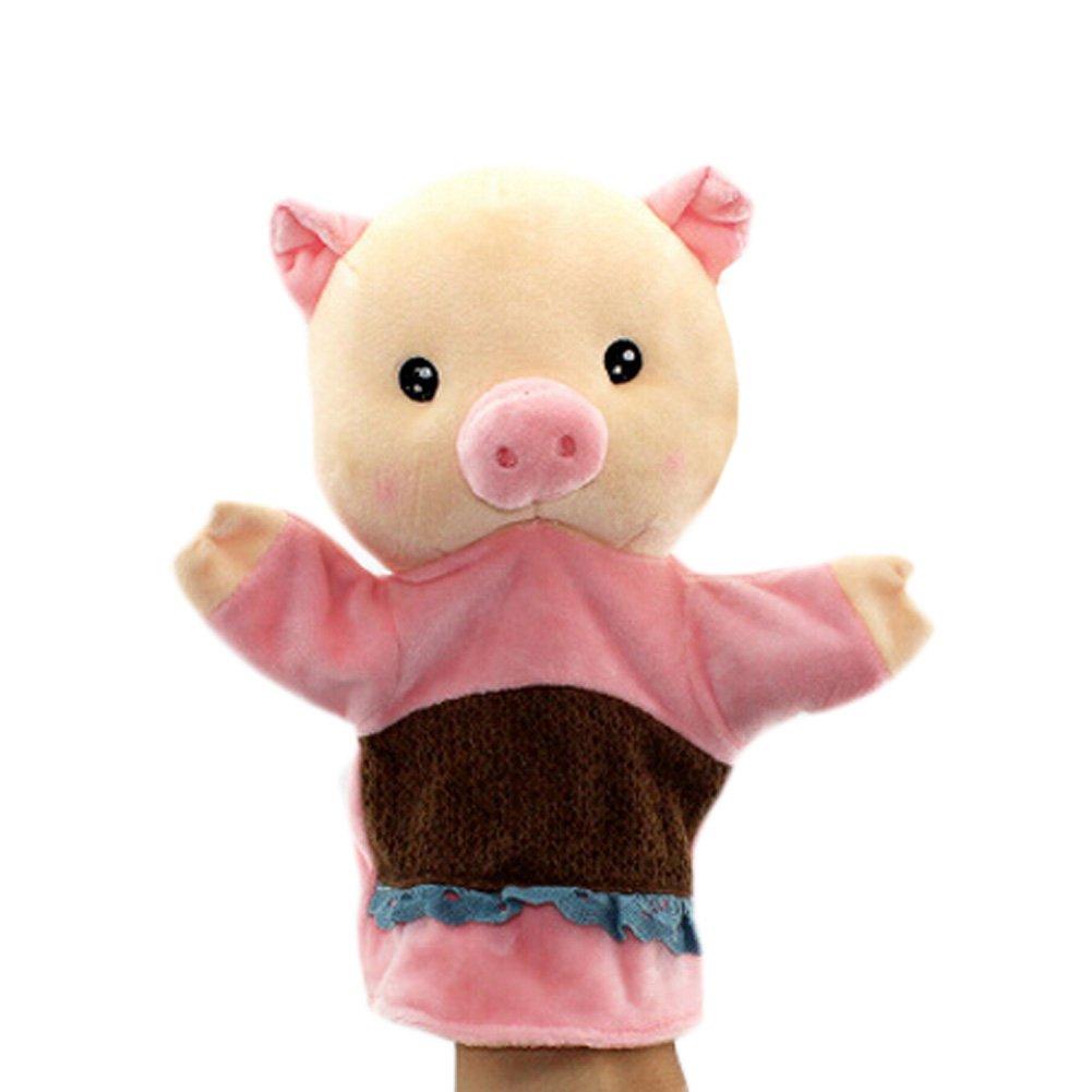 Belles Marionnette main Poupées enfants, Cochon avec des vêtements roses Blancho Bedding
