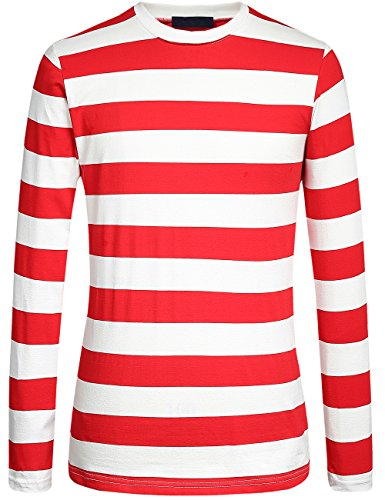 SSLR Men's Cotton Crew Neck Casual Long Sleeves Stripe T-Shirt (Large, Red -