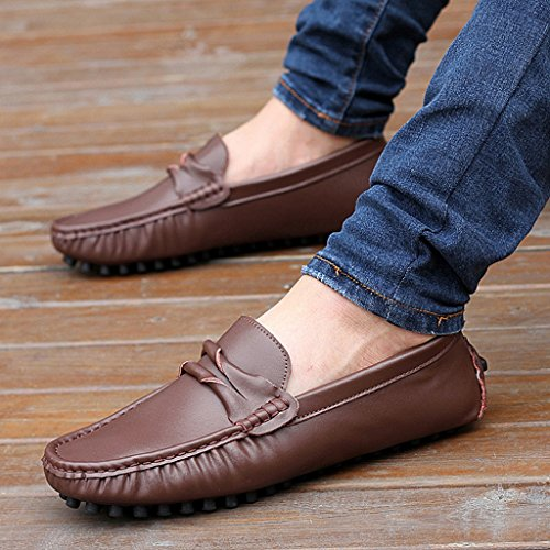 Loafers Leather Men's Brown On Driving Slip TDA Boat Shoes Comfortable Stripe Slim Up40q