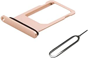 EMiEN SIM Card Tray Slot Holder Replacement with Waterproof Rubber Seal Ring for iPhone 8 Plus 5.5 Inch + SIM Card Tray Open Eject Pin (Gold)